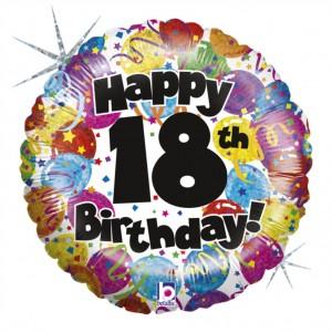 Balão Foil Happy Birthday 18 Holographic 46Cm