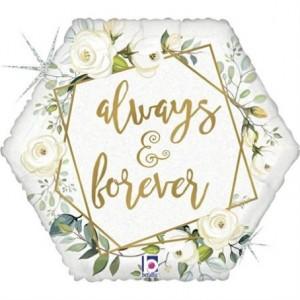 """Balão Always & Forever Glitter 18""""/46cm Grabo"""