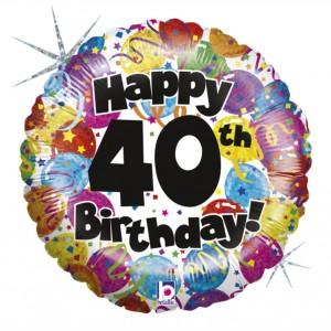 Balão Foil Happy Birthday 40 Holographic 46Cm