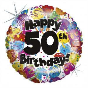Balão Foil Happy Birthday 50 Holographic 46Cm