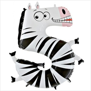 Balão Número 5 Zebra Gigante