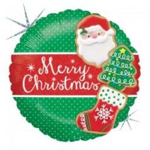 Balão Foil Redondo Feliz Natal Cookies (Glitter) 46cm