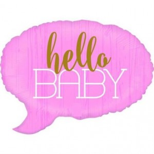 Balão de fala rosa Hello Baby 61cm