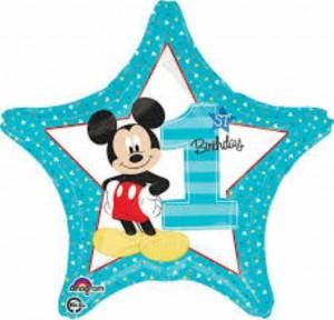 Balão Estrela Mickey 1 Ano 48cm
