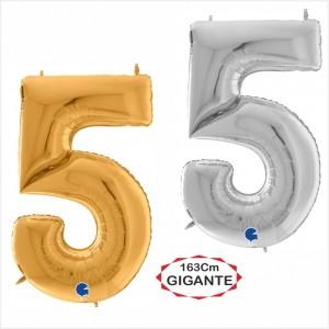 """Balão foil Numero 5 Gigante 64""""/163cm"""