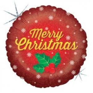 Balão Foil Redondo Merry Cristams  (Glitter) 46cm