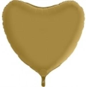Balão Coração Cetim 46cm Ouro