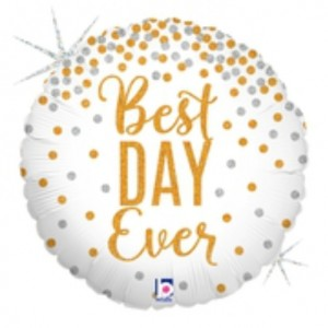 Balão Foil Best Day Ever Holographic 46Cm