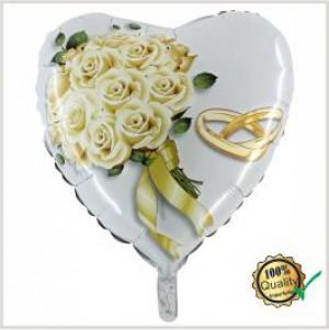 Balão Coração Foil Bouquet Rosas Alianças 46cm