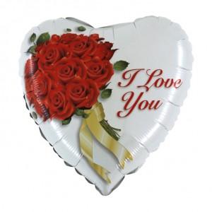 Balão Coração Foil Bouquet Rosas Vermelhas 46cm
