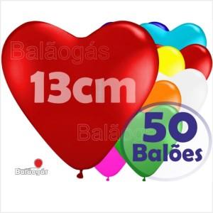 50 Balões Coração 13cm