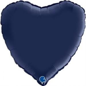 Balão Coração Cetim 46cm Azul Marinho