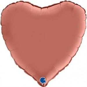 Balão Coração Cetim 46cm Rosa Gold Grabo
