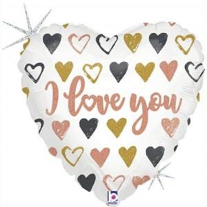 Balão Coração Love You Rosa Gold 91cm