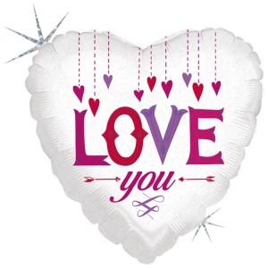 Balão Coração Love You (Holographic) 45cm