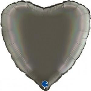Balão Coração Platina 46cm Cinza