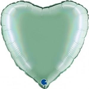 Balão Coração Platina 46cm Tiffany