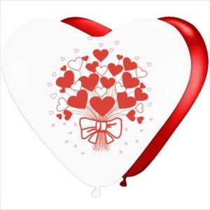 10 Balões Coração Ramo Corações