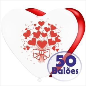 50 Balões Coração Ramo Corações