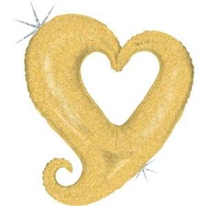 Balão Colar Coração Champanhe Glitter 94cm