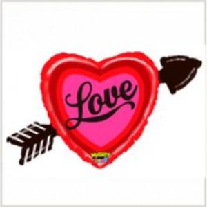 Balão foil coração love com seta 91cm
