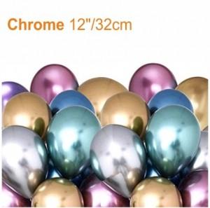 """25 Balões NOVO Cromado 12""""/32cm"""