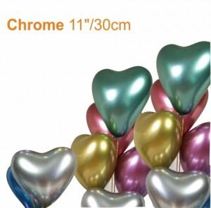 25 Balões Coração Cromado