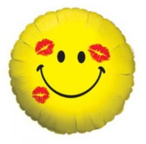 Balão Smiley Beijo Amarelo 46cm