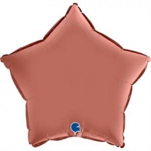 Balão Estrela Cetim 46cm Rosa Gold