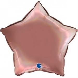 Balão Estrela Platina 46cm Rose