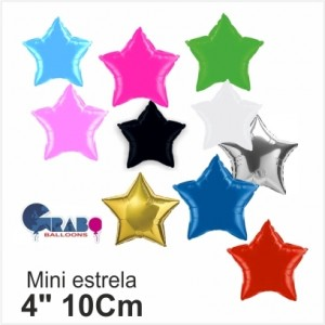 """10 Balões Estrela Foil de 4""""10cm Grabo"""