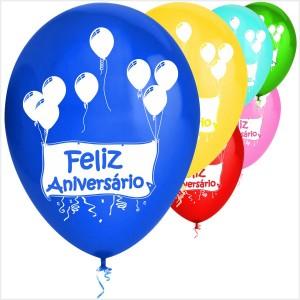 10 Balões Feliz Aniversário Faixa ( Desenho 2 faces)