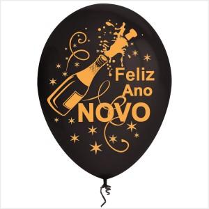 10 Balões Feliz Ano Novo Pretos(Desenho 2 faces)