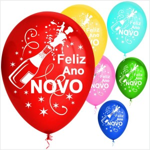 10 Balões Feliz Ano Novo coloridos(Desenho 2 faces)