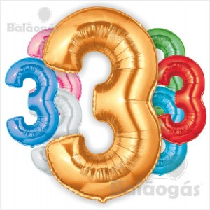 Balões Número 3 Foil Gigante