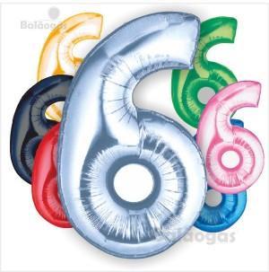 Balão Número 6 Foil 66cm
