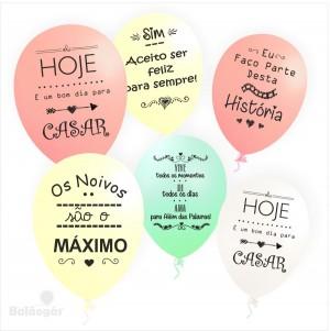 10 Balões Metalizados 5 Frases de Casamento Impresso nas 2 faces