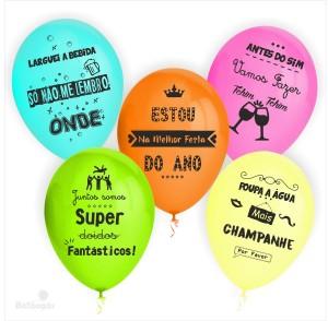 10 Balões Despedidas de Solteiros com 5 Frases impresso nas 2 faces