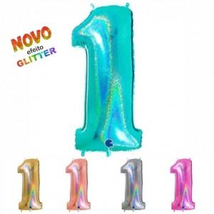 Balão Número 1 GLITTER 100cm