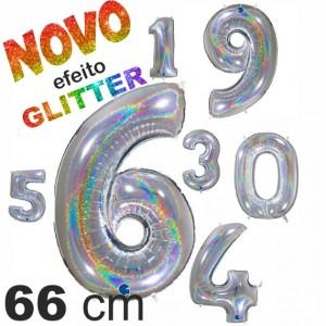 Balão Números GLITTER Foil 66cm