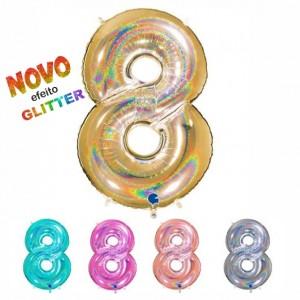 Balão Número 8 GLITTER 100cm