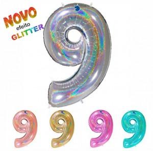 Balão Número 9 GLITTER 100cm