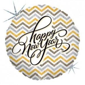 Balão Foil Redondo Happy New year  (Glitter) 46cm Grabo