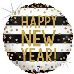 Balão Redondo Happy New year Confetti (Glitter) 46cm Grabo