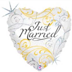 Balão Foil Coração Just Married Holographic 46Cm Grabo