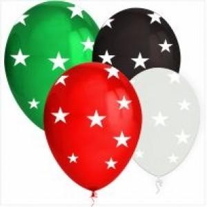 10 Balões 32cm com Estrelas (Escolha a cor Pretendida)