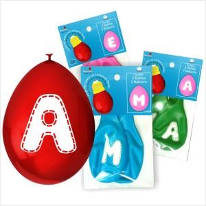 Balões Latex Letras ( 5 cores á escolha ) 2Un.