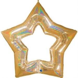 """Balão Foil Estrela Linky Glitter Ouro 48"""" 122cm"""