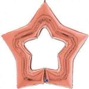 """Balão Foil Estrela Linky Star Rosa Gold 48"""" 122cm"""