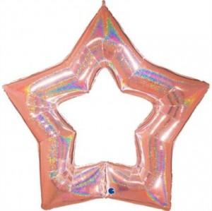 """Balão Foil Estrela Linky Glitter Rosa Gold 48"""" 122cm"""